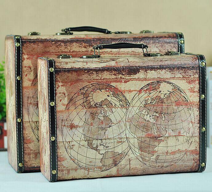 American Village Style Retro Portable Wooden Antique Trunk