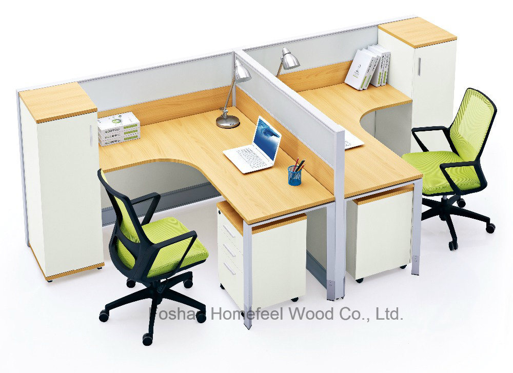 china modern office 2 seater l shape desk office partition
