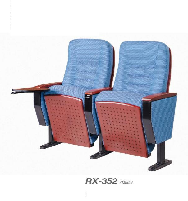 Wooden Backrest Auditorium Chair with Solid Wood Armrest &Writing Pad (RX-352)