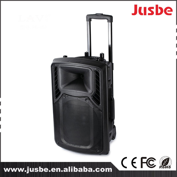Jusbe 10 Inch 90W/6ohm Supper Light portable Digital Outdoor bluetooth Trolley Speaker Luggage Loudspeaker