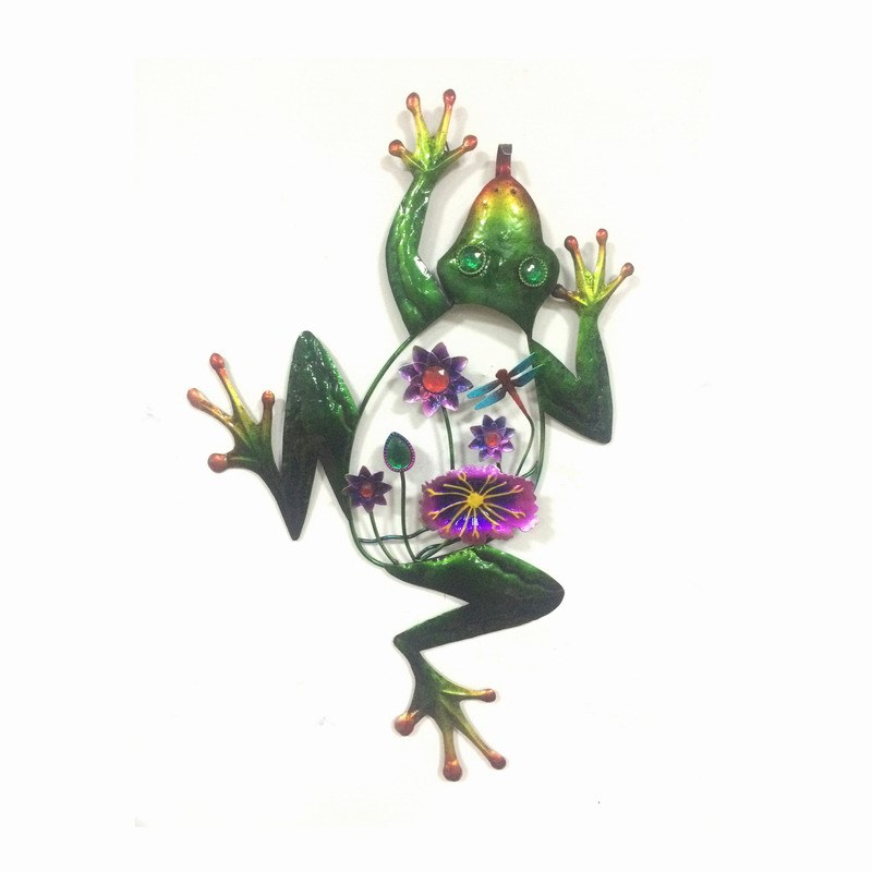 Metal Frog Wall Art Jewel Decorated Garden Decoration