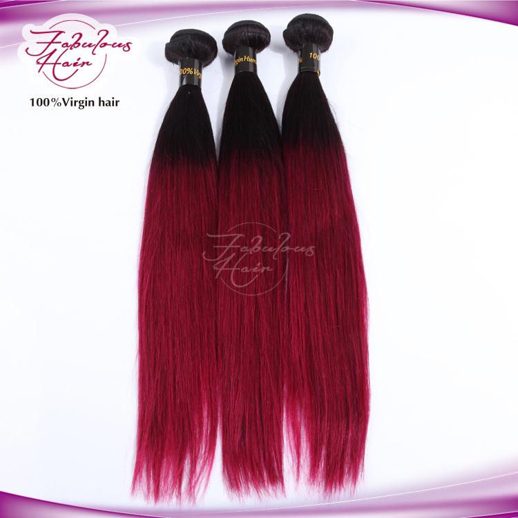 8A Ombre Human Hair Weaving Virgin Straight Hair 1b/99j Color