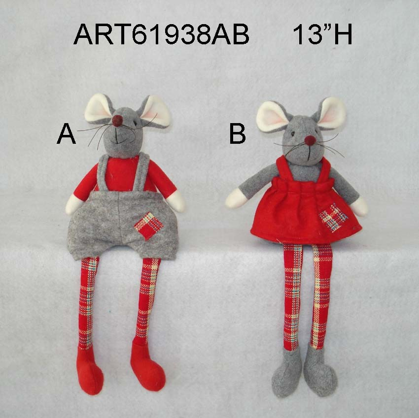 "12""H Christmas Decoration Boy and Girl Mouse"
