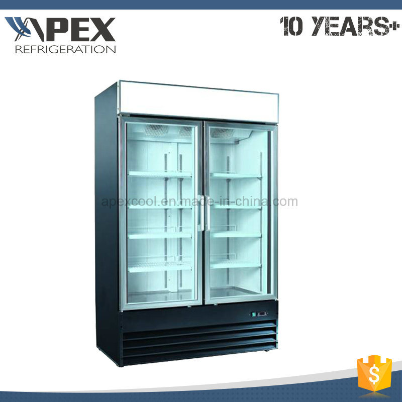 Supermarket Double Door Upright Beverage Freezer