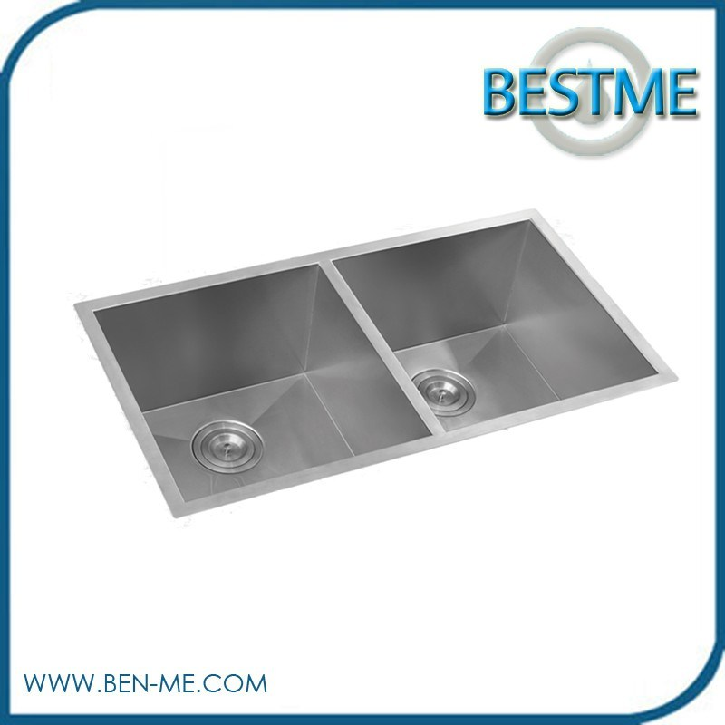 Handmade 304stainless Steel Kitchen Sink with Double Bowl