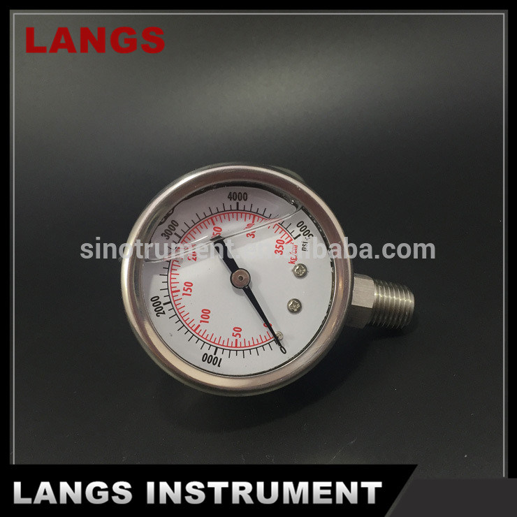 036 50mm Stainless Steel Crimped Bezel Liquid Filled Pressure Gauge