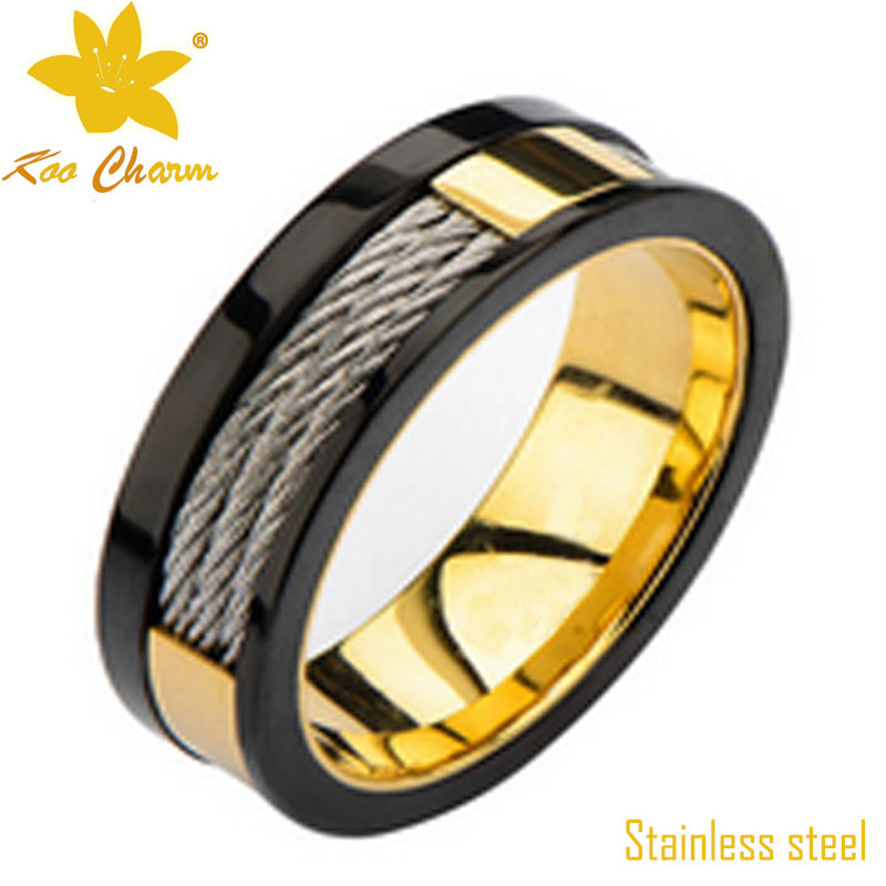 Str-010 CNC Black Stainless Steel Diamond Rings