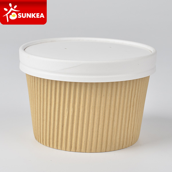 475ml 650ml Double Wall Ripple Kraft Paper Soup Cup