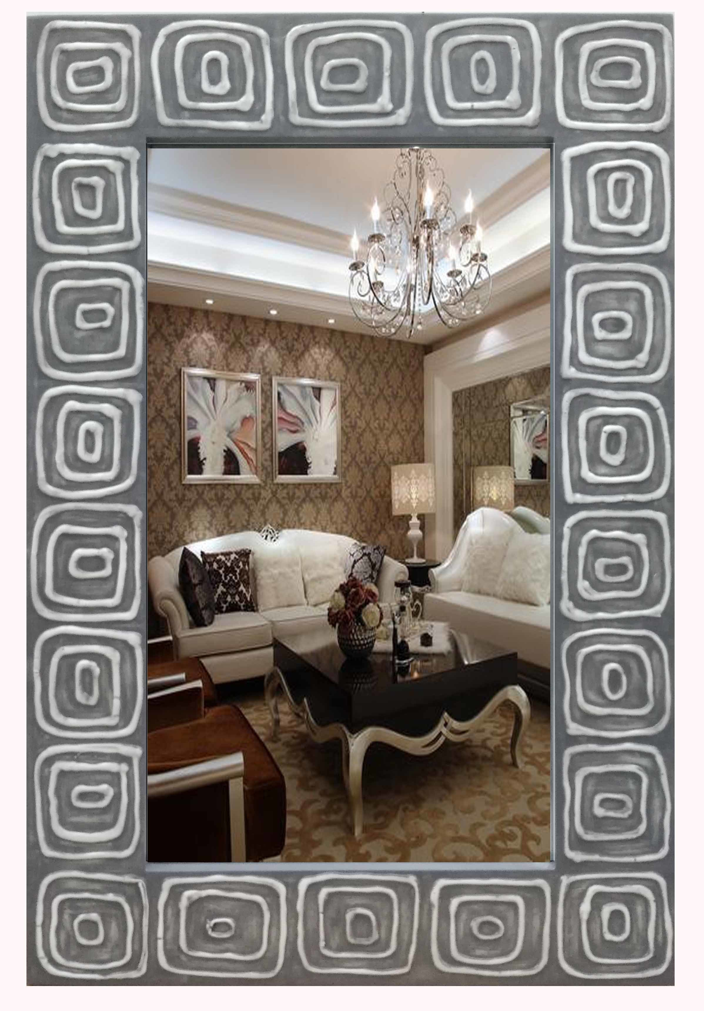 Home Decorative Gel Paint Wall Art Grey Wall Mirrors (LH-M17015)