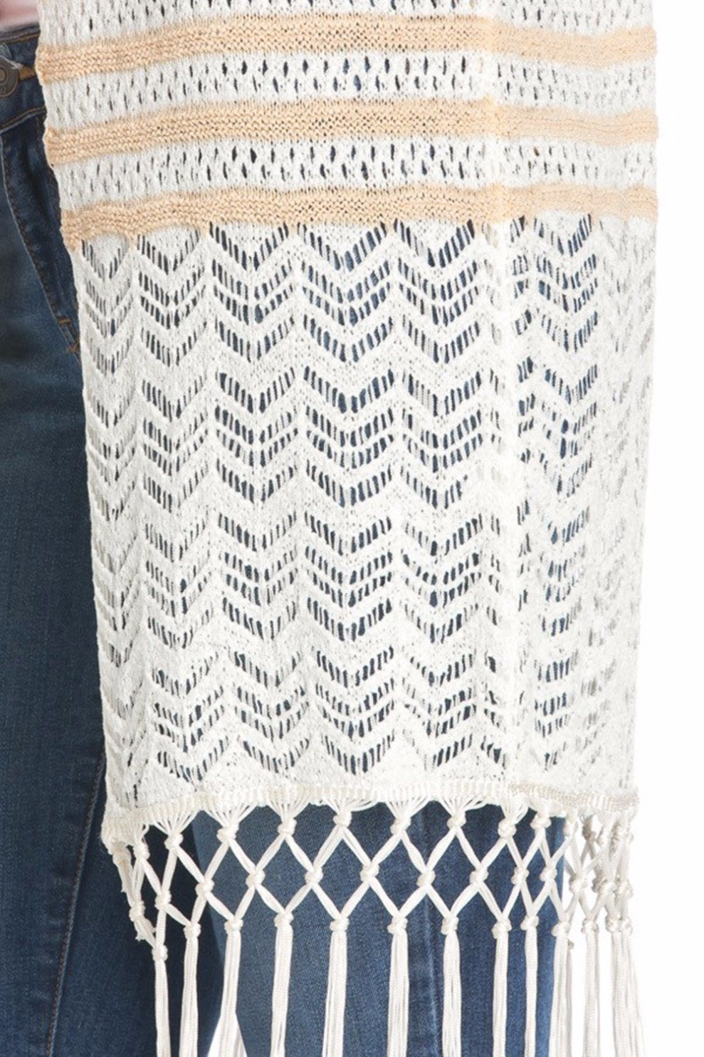 Women Fringed Open Knit Vest Cardigan