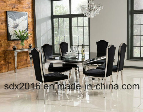 Louis Dining Table Set with Dining Chair Black Stainless Steel Moden Luxry (CY213C)