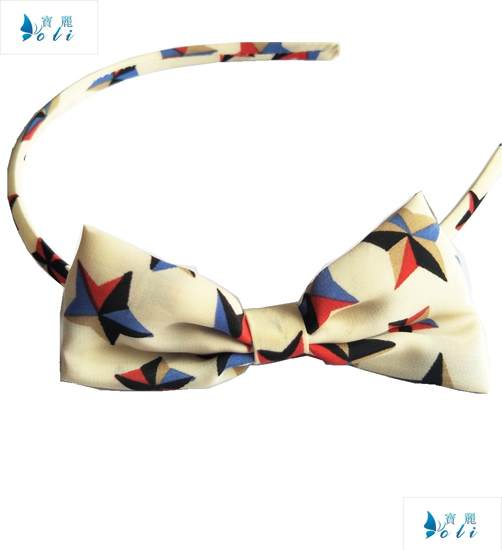 Cream Color Chiffon with Star Printings Bowknot Headband