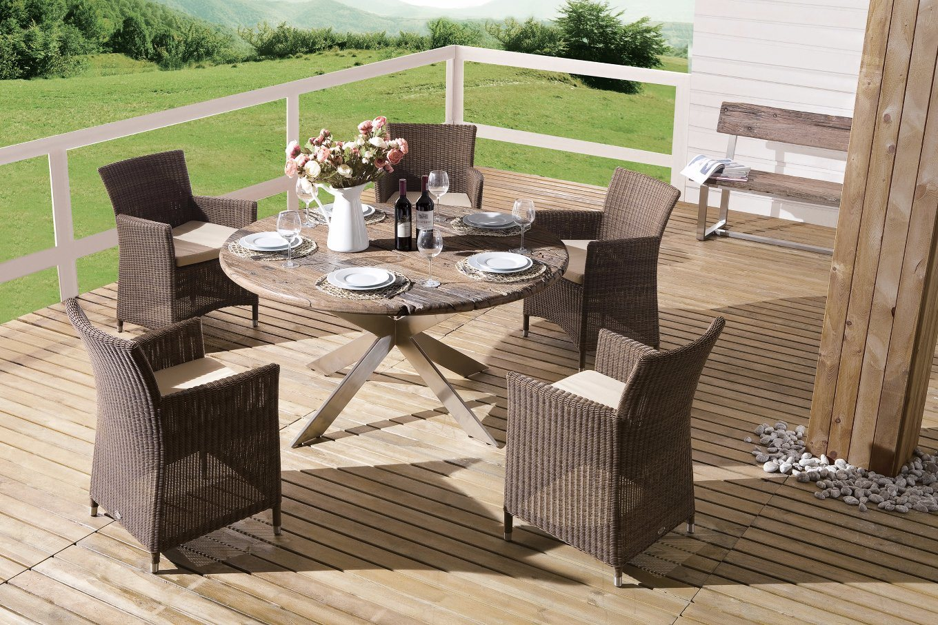 Outdoor Wicker Patio Furniture Auckland / Cancun Dining Set Garden Rattan Chairs Table (J375R)