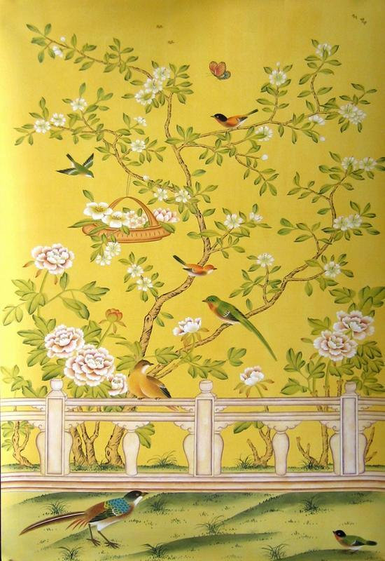 HandPainted Wallpaper CHINOISERIE22