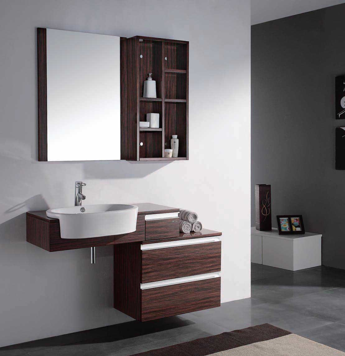 Solid oak bathroom cabinets etv9000 china bathroom for Bathroom ideas with oak cabinets