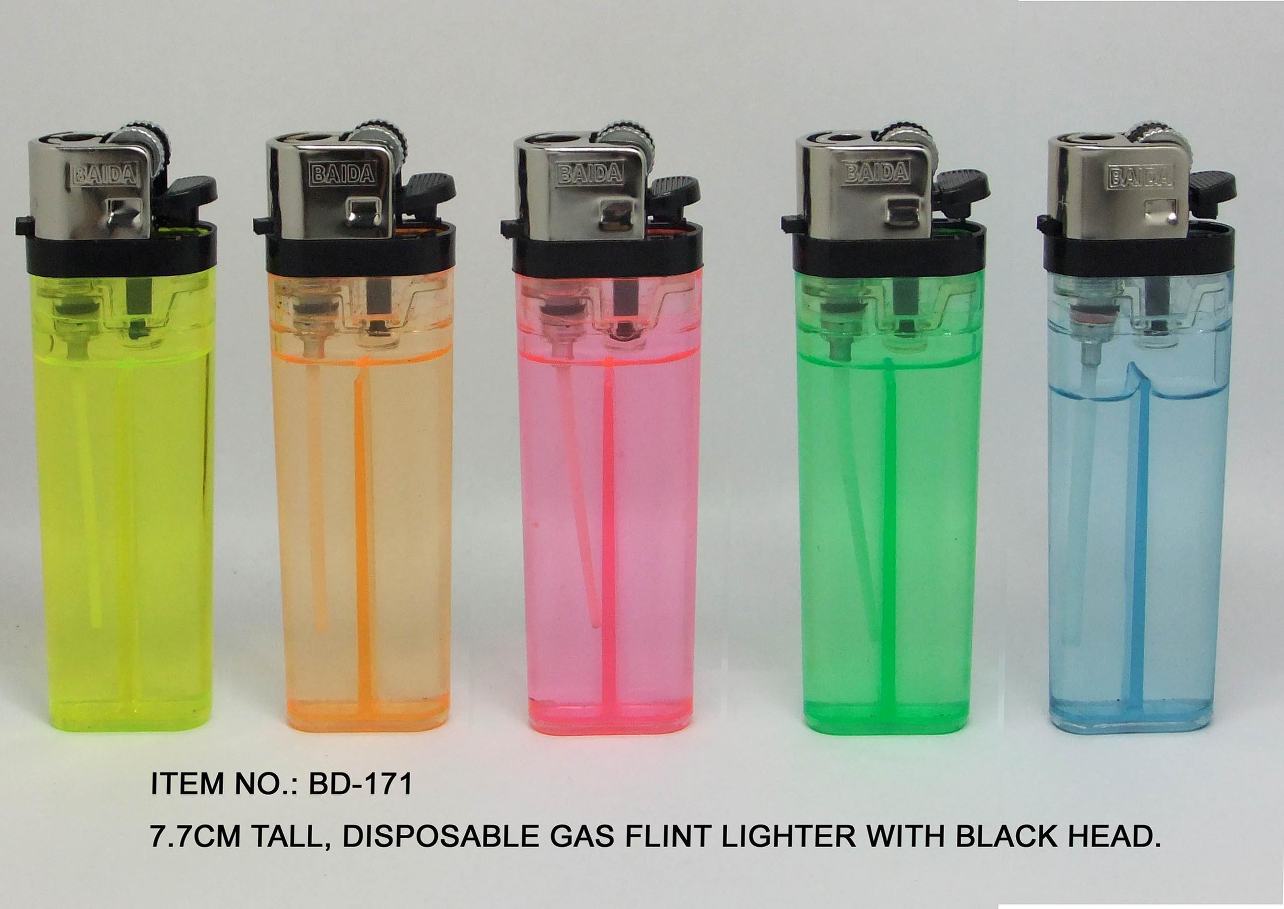 (Item No.BD171) 7.7cm Disposable Gas Lighter With Black Head, Flint Lighter, Baida Lighter