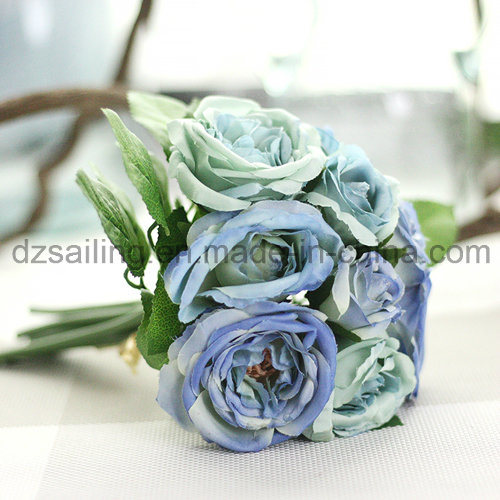 Hot Selling Royal Wedding Rose Bouquets Artificial Flower for Decoration (SF12495)