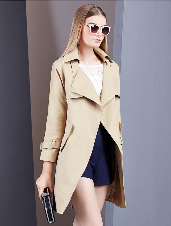 2015 Autumn New Wide-Lapels Long Jacket with Belt
