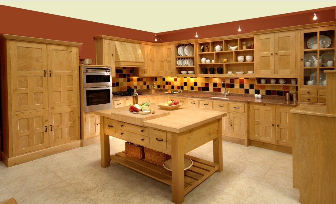 Wood Kitchen Cabinet Oak Kitchen Furniture #1728