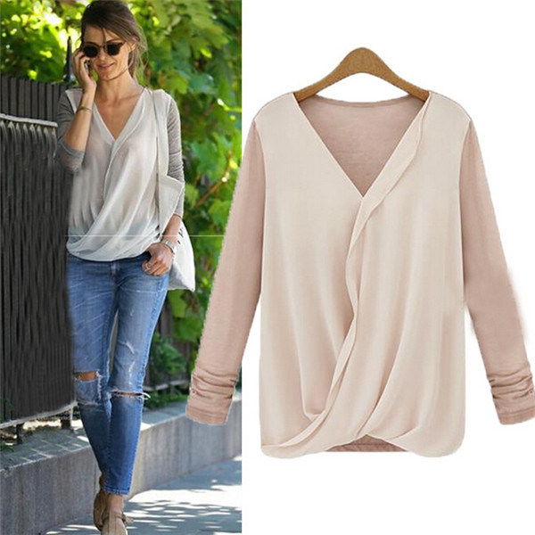 Women Casual Long Sleeve Stitching V-Neck Chiffon Blouse Tops (50205)
