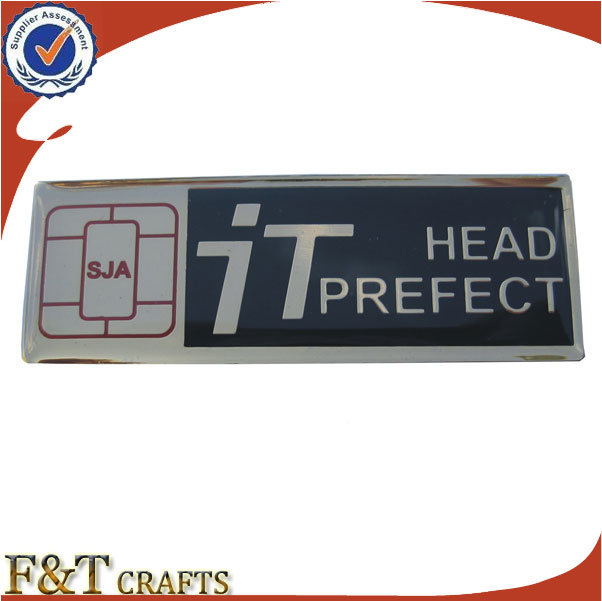 Embossed School Modern Custom Logo Soft Enamel Metal Nameplate (FTNP2708A)