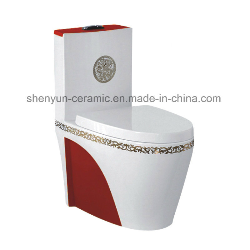 One-Piece Ceramic Toilet Siphonic Flushing S-Trap Color Toilet (A-007)