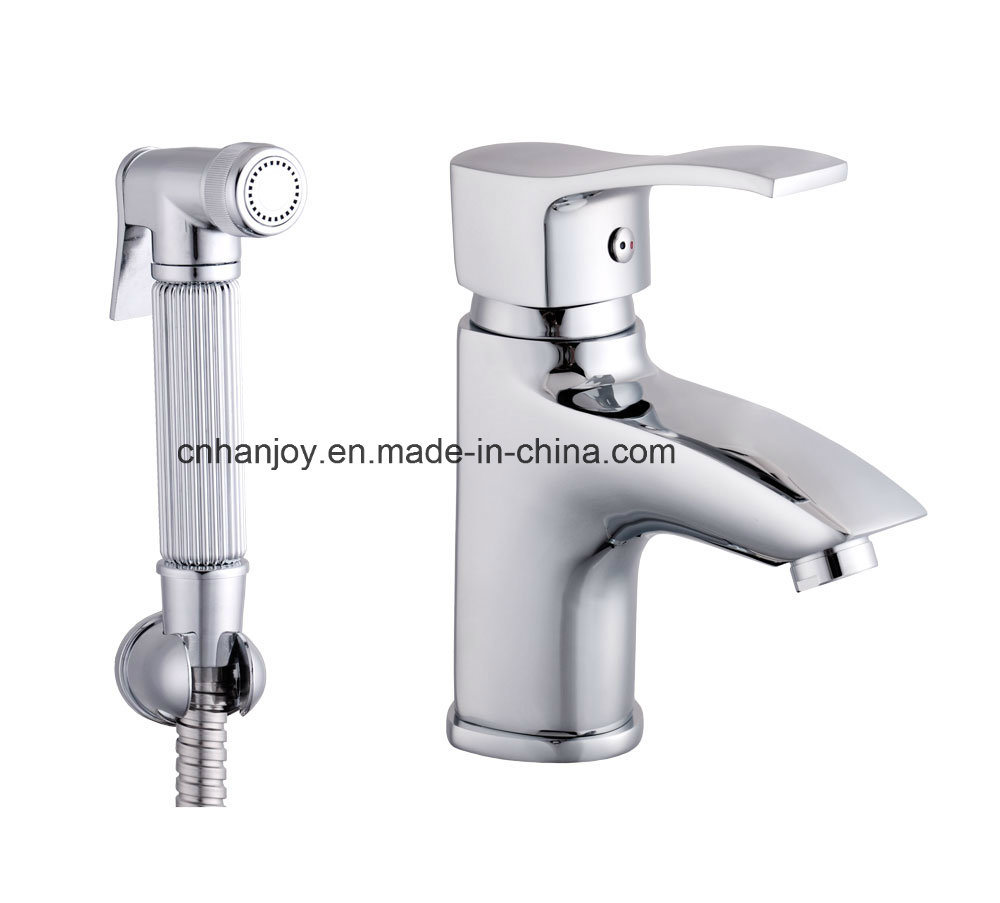 Deck Mounted Single Handle Brass Basin Tap with Shower (H01-222)