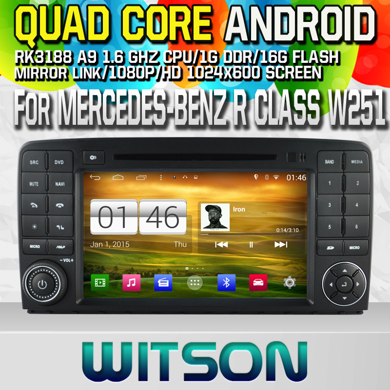 Witson S160 Car DVD GPS Player for Mercedes-Benz R Class W251 with Rk3188 Quad Core HD 1024X600 Screen 16GB Flash 1080P WiFi 3G Front DVR DVB-T Mirror (W2-M215)