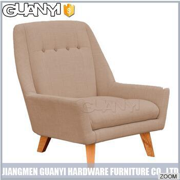 Warm Color Short Wood Leg Leisure Sofa Fabric