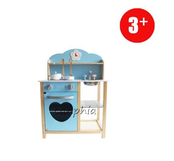 Wooden Sky Blue Kitchen Pretend Playset, DIY Wooden Toy for Kids