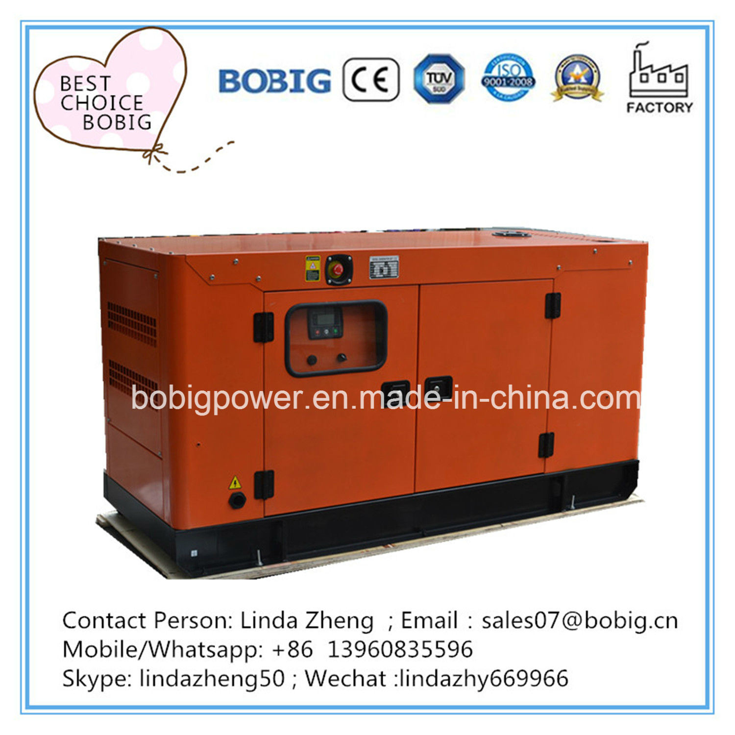 China 100kw 125kVA Electric Soundproof Canopy Open Type Diesel