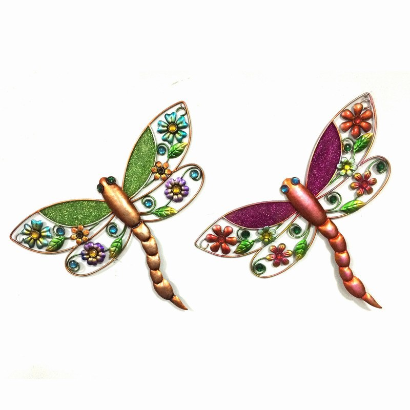 Chunk Glass Decorated Colorful Dragonfly Metal Wall Decoration for Garden