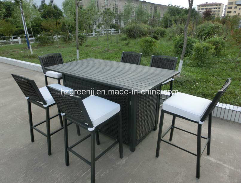 Aluminium Wicker 7 Pieces Club Bar Set Outdoor Furniture