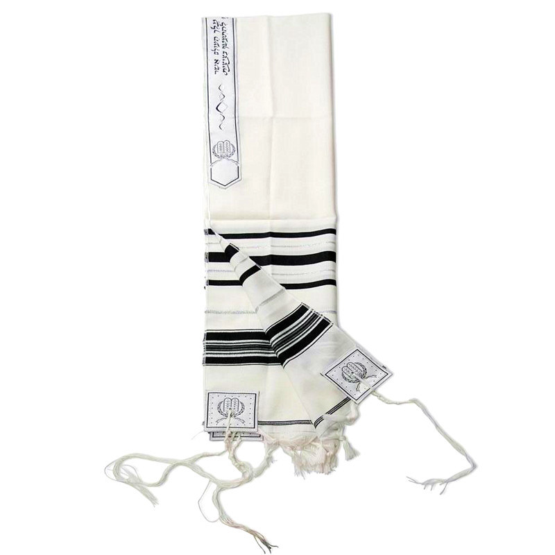 High Quality China Wool Tallit with Black Stripes
