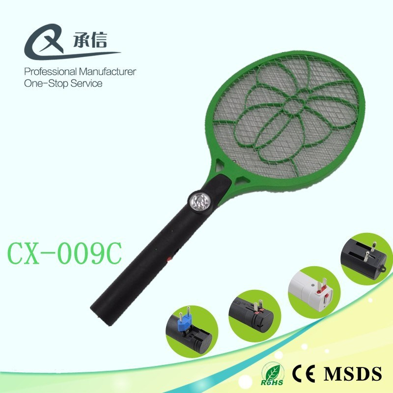 Hot Seller Big Net Electric Insect & Fly Control Swatter, Pest Mosquito Zapper Racket with LED