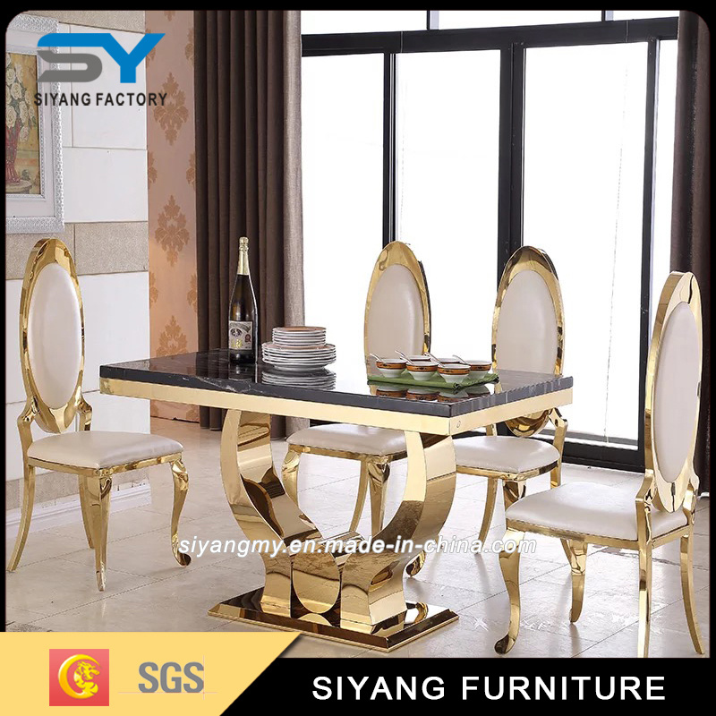 China Modern Dining Room Furniture Marble Top Stainless Steel Dining ...