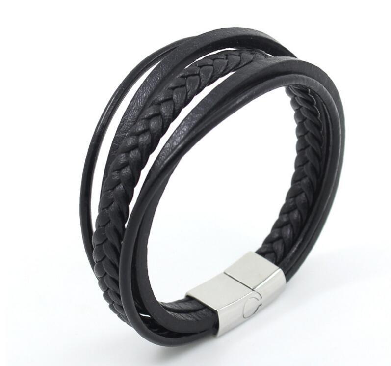 Stainless Steel Bracelet Pure Leather Jewelry Male Bracelet