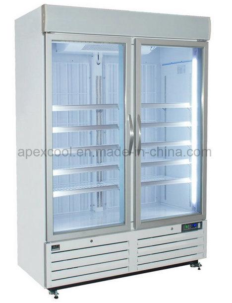 Supermarket Double Door Upright Beverage Freezer