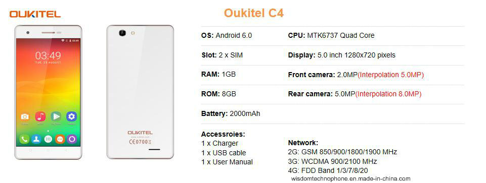 Oukitel C4 5.0 Inch HD Screen Mobile Phone 1GB RAM+8GB ROM 2000mAh Cell Phone Mtk6737 Quad Core Android 6.0 Smart Phone White