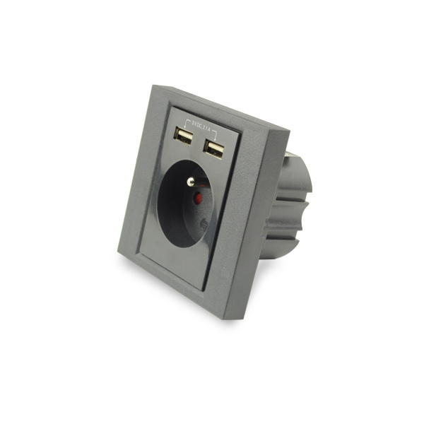AC Wall Socket with 2 Port USB Charger, French Socket