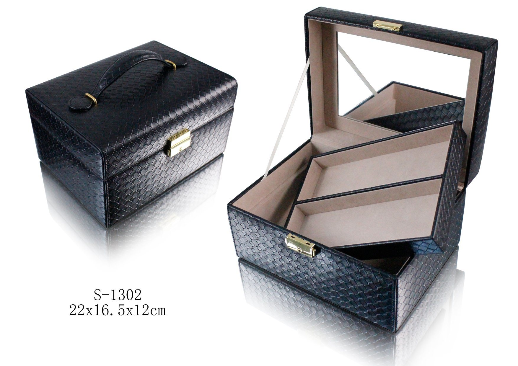 Black Leather Cosmetic Case with Gold Hardware