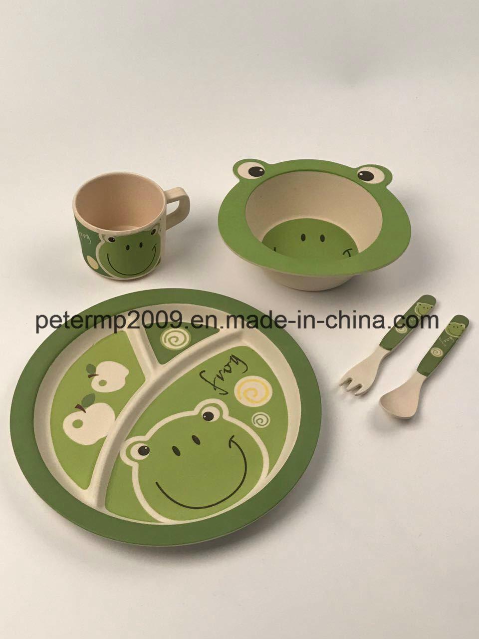 100% Natural Bamboo Fiber Kids Dinner Set