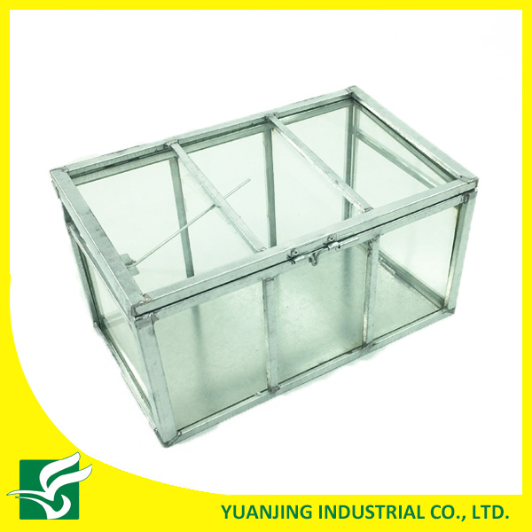 Home Garden Small Galvanized Steel Frame Glass Greenhouse