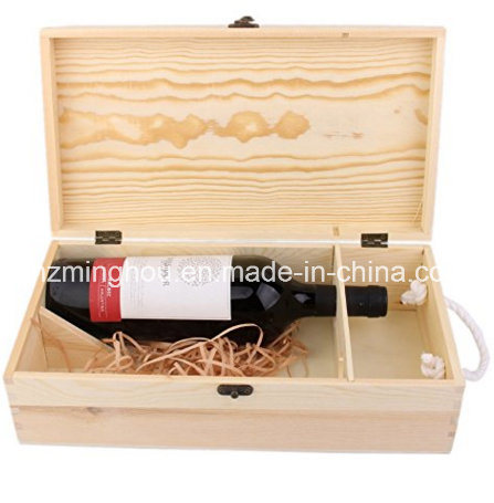 Handmade Natural Pine Wood 2 Bottle Travel Wine Box
