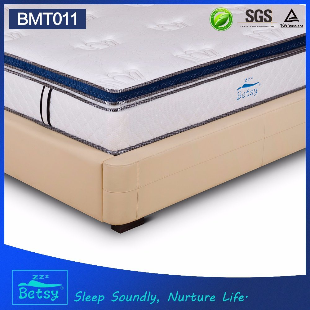 OEM Compressed Pocket Spring Mattress 28cm Box Top Design with Gel Memory Foam and Massage Wave Foam