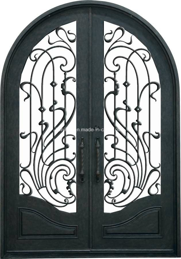 Exterior Design Wrought Iron Double Entry Doors with Tempered Glass