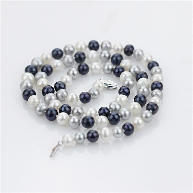 7-8mm off Round Mixed Color Small Women Natural Pearl Necklace Jewelry