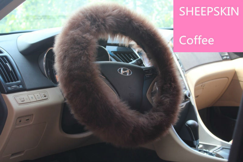 Universal Matching Sheepskin Car Steering Wheel Cover Long Wool