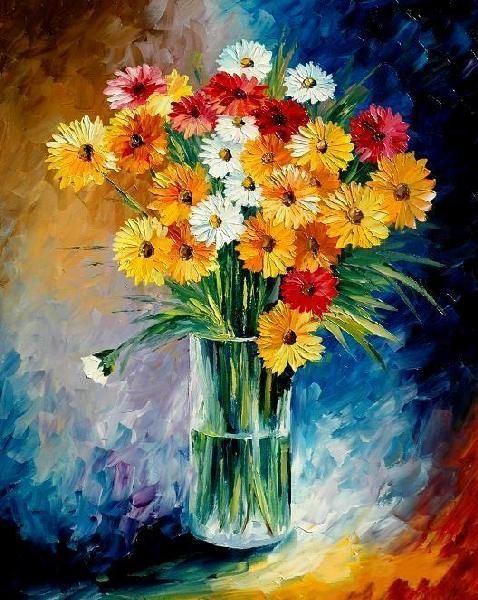Peinture l 39 huile moderne de fleur de couteau peinture l 39 huile mo - Peinture a l huile moderne ...