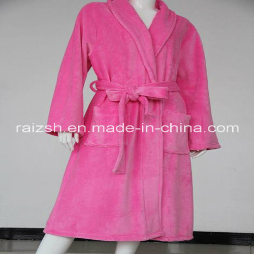 Solid Color Fannel Women Bathrobes